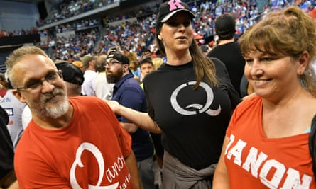 Members of QAnon at a Donald Trump rally in Wilkes-Barre, Pennsylvania.