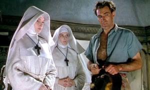 Deborah Kerr, left, Kathleen Byron and David Farrar in Black Narcissus (1947).