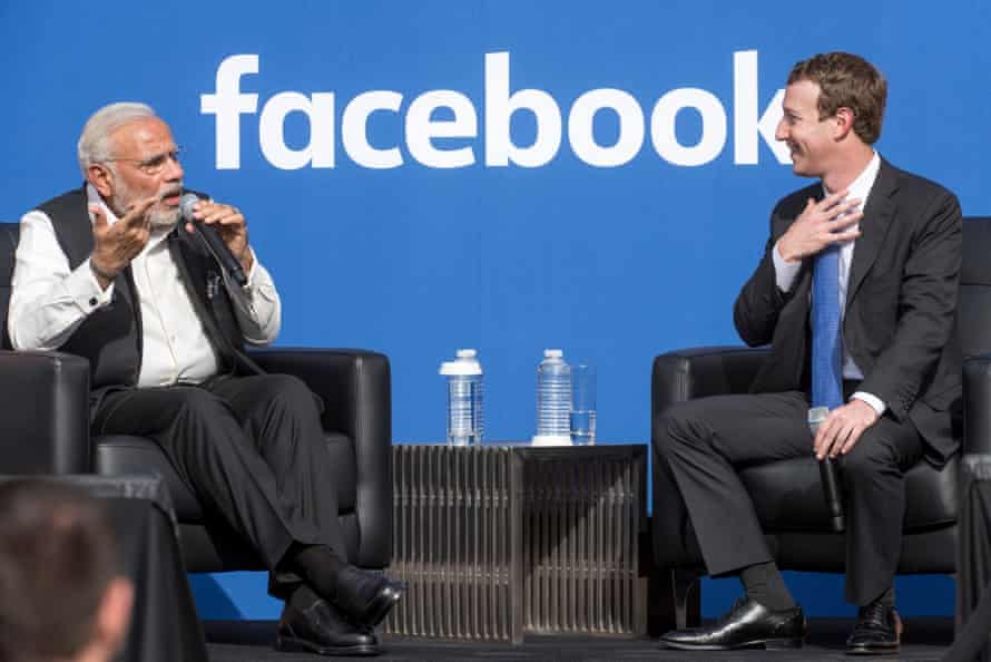 Modi meets Mark Zuckerberg, CEO of Facebook, in Menlo Park in 2015.