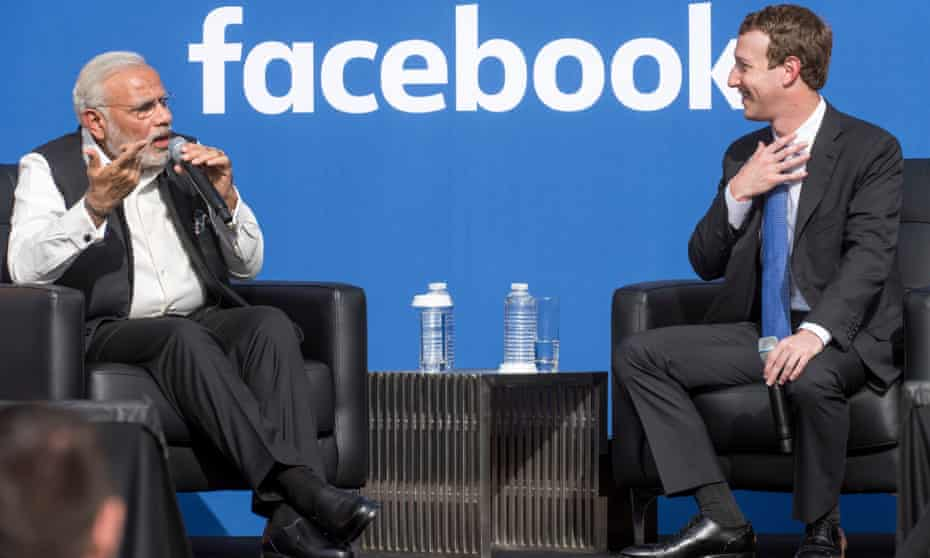 India's prime minister Narendra Modi with Mark Zuckerberg at Facebook's headquarters in California, 2015