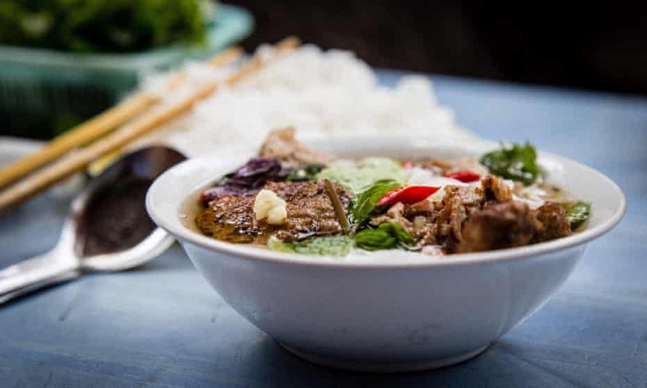 Bowl of Bun Cha on the streets of Hanoi.