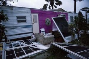 A mobile home in the Palm Lake RV Resort in Bonita Springs, Florida.