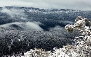 Snow covers Mt Buller in eastern Victoria, Australia