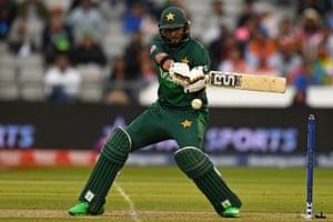 Pakistan's Imad Wasim plays a shot.