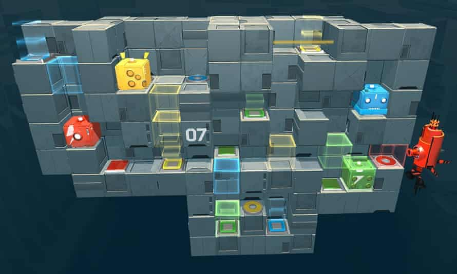 In Death Squared each player guides a different robot around a puzzle that can only be solved by working together