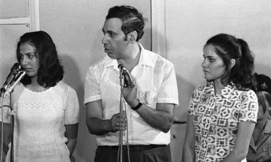Theresa Halsa and Rima Tannous hear the reading of their life sentences at the trial in Lod on 14 August 14 1972.