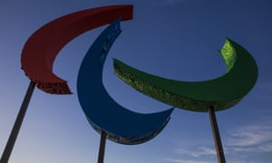 The Paralympics logo on Copacabana beach in Rio