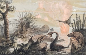 For the earliest paleoartists, fossil bones were blank slates upon which they could project their own imaginative elaborations. Pannemaker's image served as the frontispiece for WFA Zimmerman's Le monde avant la création de l'homme (1857). Copyright: Courtesy of TASCHEN