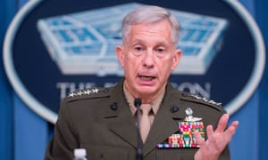 Gen Thomas Waldhauser speaks during a press briefing at the Pentagon in Washington DC, on Thursday on the results of the investigation into the 2017 ambush on US soldiers in Niger.