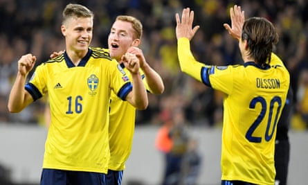 Sweden's Mattias Svanberg celebrates his goal against the Faroe Islands with Dejan Kulusevski and Kristoffer Olsson