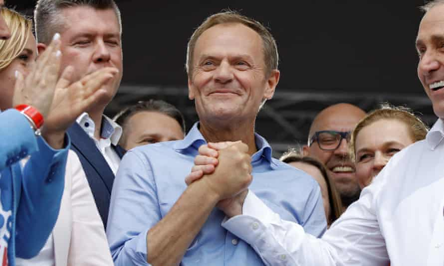 Donald Tusk on a pro-European march in Warsaw.