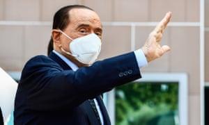 Silvio Berlusconi outside the San Raffaele hospital in September where he was being treated for coronavirus