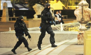 Armed police officers during the Trafford centre exercise.