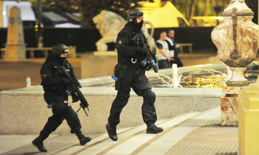 Armed police officers during the exercise.