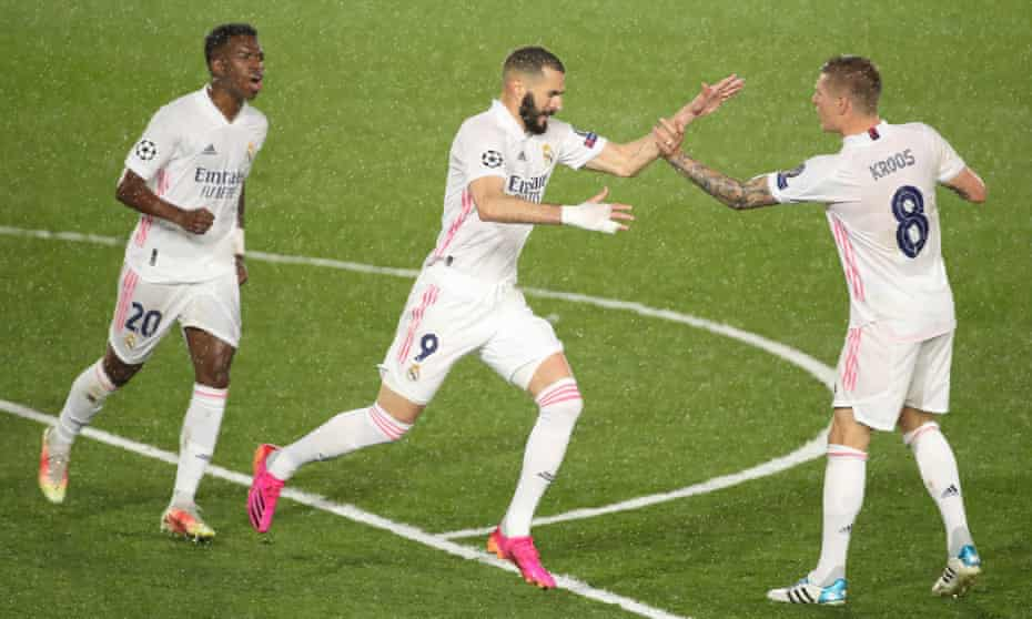 Karim Benzema celebrates after bringing Real Madrid level in their Champions League semi-final first leg after Chelsea had dominated.