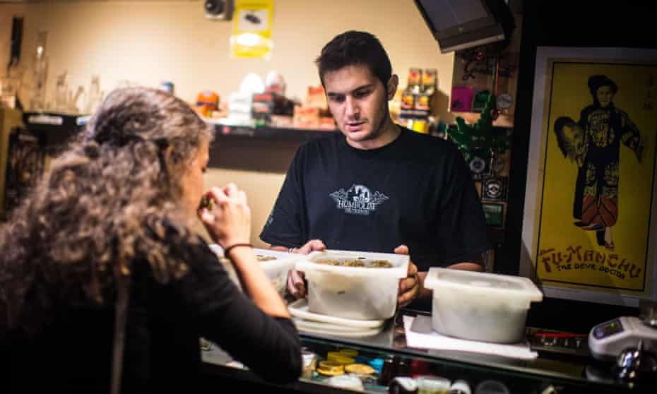 Member buying cannabis at a barcelona club