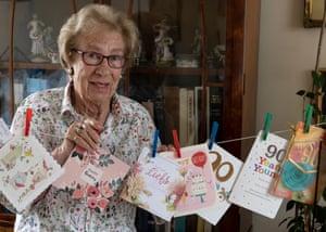 Holocaust Auschwitz survivor Eva Schloss in her apartment where she celebrates her 90th birthday