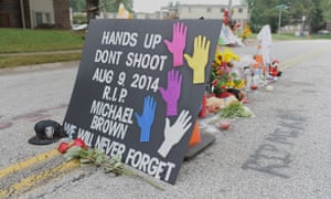 A memorial where Michael Brown Jr was killed in Ferguson, Missouri. Brown's death propelled Wesley Bell, prosecuting attorney for St Louis county, to enter politics.