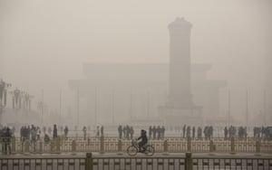 Tiananmen Square is photographed on a day of heavy pollution in Beijing