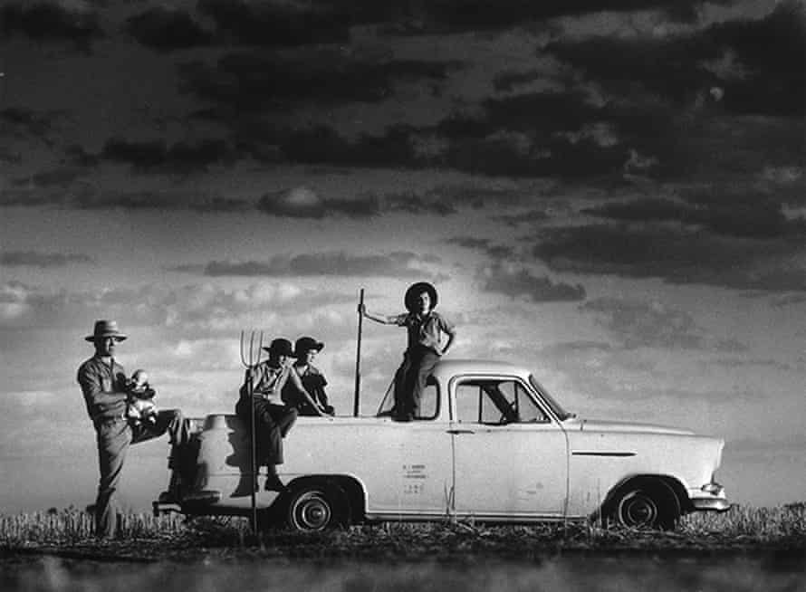 Robert Webb with his four sons and their 1959 Holden ute in Dappo, near Narromine, NSW