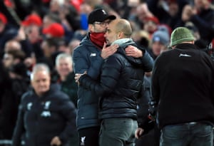 Klopp is congratulated by Guardiola as Liverpool win 3-1.