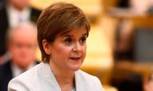 Nicola Sturgeon addresses the Scottish parliament in Edinburgh