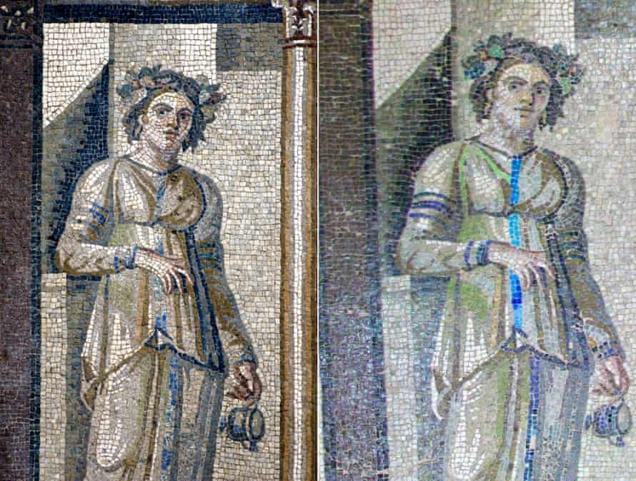 A mosaic before and after restoration, in the Hatay Archaeology Museum, Turkey.
