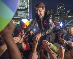 Justin Trudeau greets supporters in Toronto