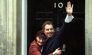 Tony Blair waves on the steps of No 10 Downing Street after Labour won the general election in 1997.