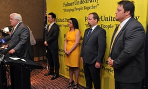 Meanwhile, back in October 2013: Palmer United party leader Clive Palmer (L-R) with senators Dio Wang, Jacqui Lambie and Glenn Lazarus (far right).