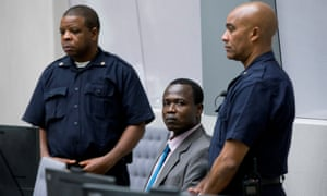 Dominic Ongwen in the court room of the international criminal court