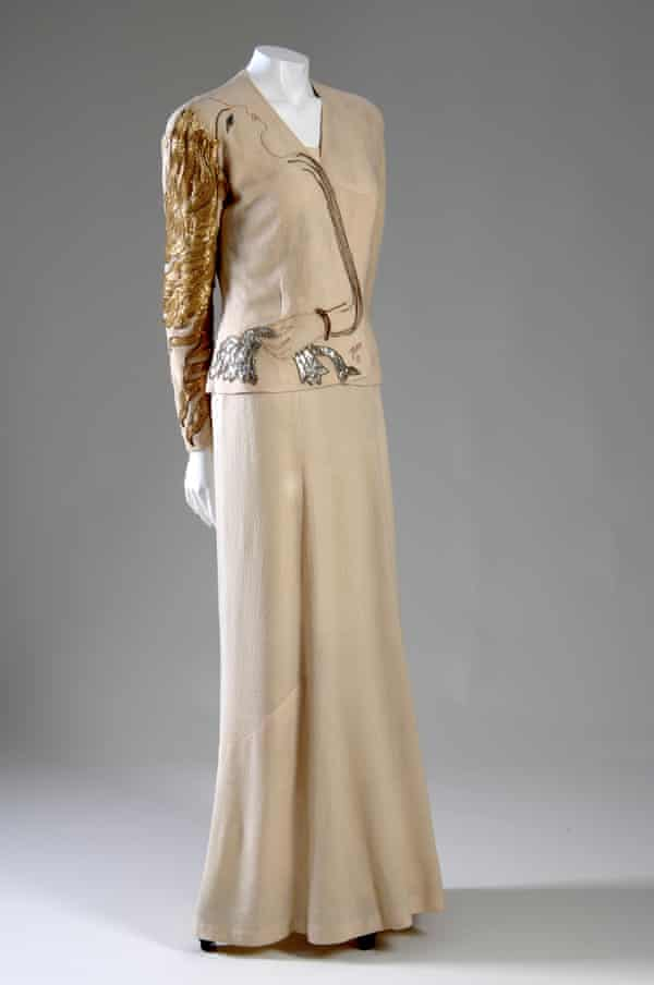 Evening ensemble with dress and jacket of silk crepe, metallic and silk thread, glass beads by Elsa Schiaparelli and Jean Cocteau, 1937.