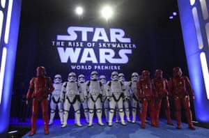 """In Los Angeles, stormtroopers pose at the world premiere of """"Star Wars: The Rise of Skywalker""""."""