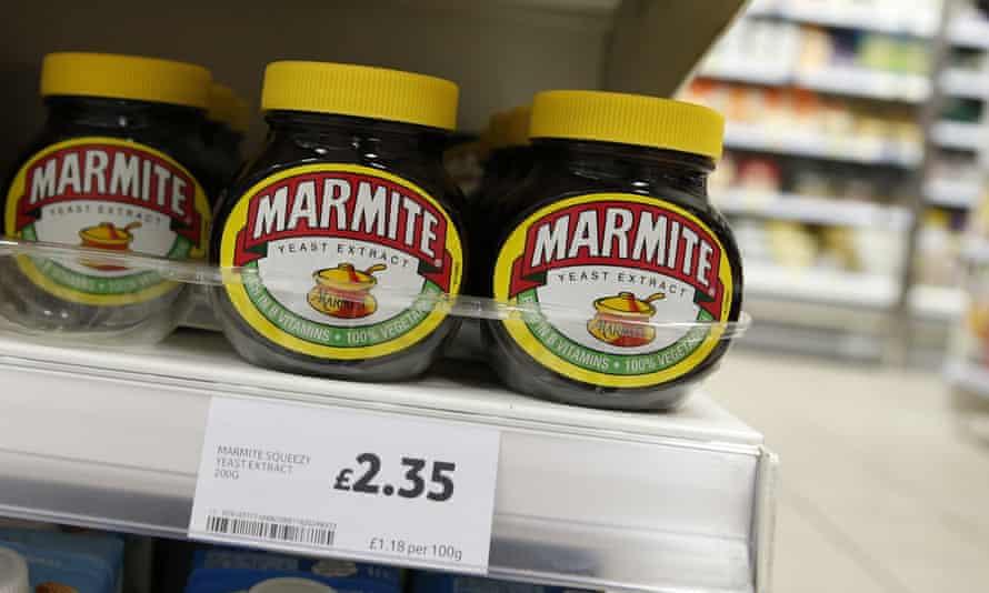 Jars of Marmite on a supermarket shelf