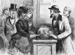Victoria Woodhull and her sister Tennie Claflin attempt to assert their right to vote in New York and are denied, circa 1875.