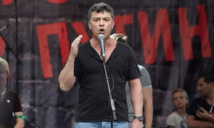 Boris Nemtsov speaking at an opposition rally in 2011.