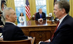 Donald Trump looks on during a meeting with China's Vice-Premier Liu He and the US trade representative, Robert Lighthizer, in the Oval Office at the White House on 22 February.