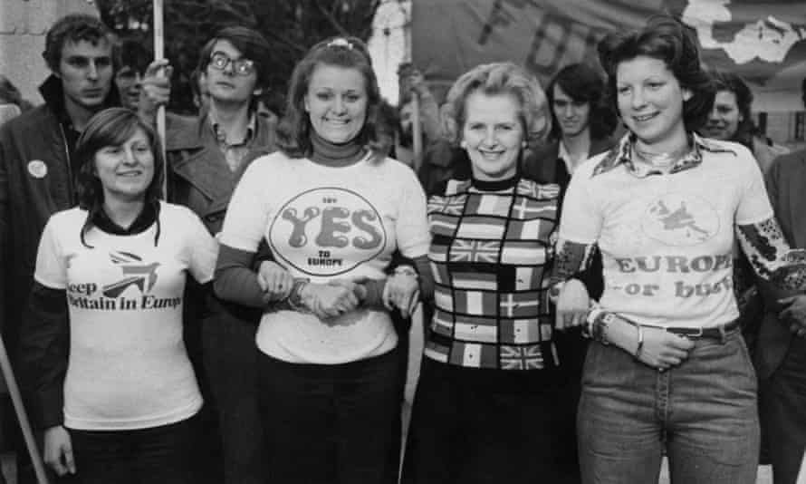 Margaret Thatcher, pictured in 1975 campaigning to 'Keep Britain in Europe'.