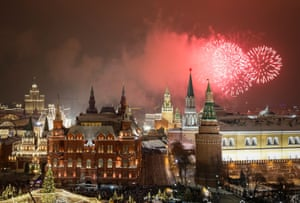Fireworks explode in the sky over the Kremlin during New Year celebrations in Moscow, Russia.