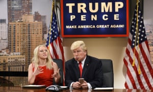 Kate McKinnon as Kellyanne Conway, and Alec Baldwin as President Donald Trump tweeting, on Saturday Night Live.