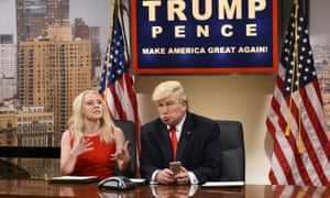 Kate McKinnon as Kellyanne Conway and Alec Baldwin as Donald Trump on the US TV series Saturday Night Live.