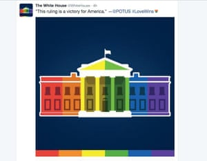 An image of a rainbow colored White House, tweeted by the White House after the US Supreme Court ruling on same sex marriage