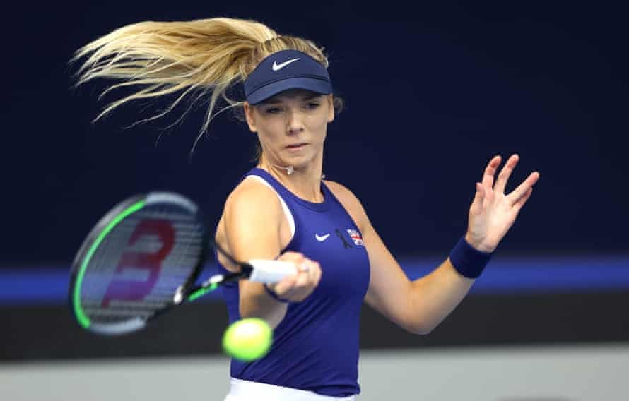 Katie Boulter plays a forehand during her 7-5, 6-0 win over Mexico's No 1, Marcela Zacarias.