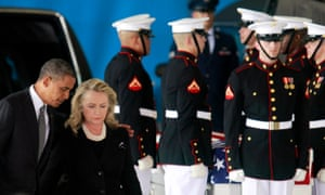 Barack Obama and Hillary Clinton participate in a transfer ceremony of the remains of the US ambassador to Libya, Chris Stevens, and three other Americans killed in Benghazi, at Andrews air force base near Washington in 2012.