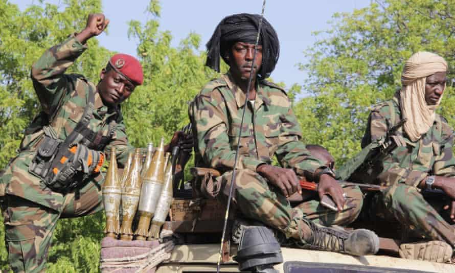 Chadian soldiers patrol in Monguno in December 2019