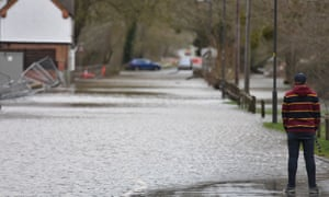 Flooded roads in Upton-upon-Severn.