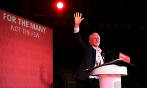 Jeremy Corbyn waves to supporters at the Union Chapel in Islington, London