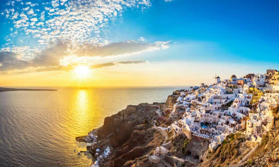 A classic view of Santorini, an island shaped by volcanic activity thousands of years ago.
