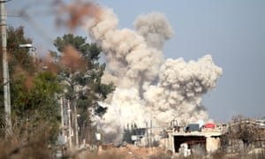 Smoke rises from an airstrike in February 2016 targeting rebels in Darayya, south-west of the Syrian capital, Damascus