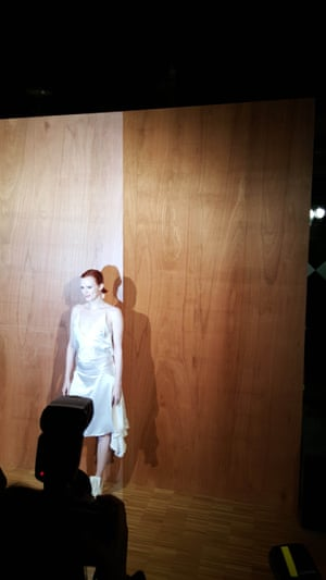 A plywood backdrop at the Givenchy womenswear show.